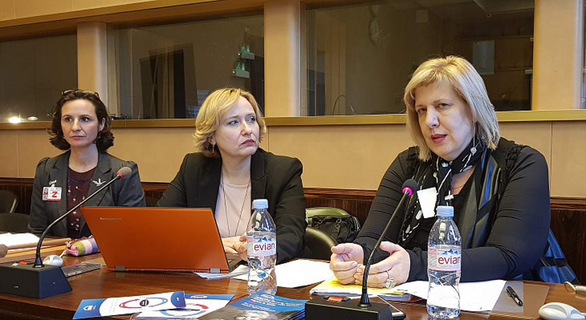 Debbie Kohner (ENNHRI Secretary-General), Lora Vidović (Ombudswoman of Croatia) and Dunja Mijatović (Council of Europe Commissioner for Human Rights)