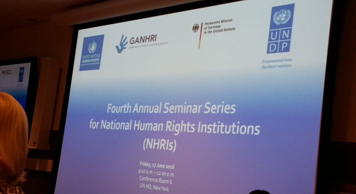 4th Annual Seminar Series for NHRIs - first slide of the PPT