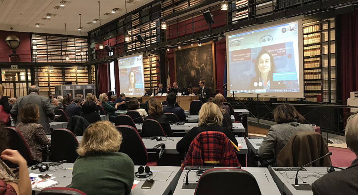 Dr Katrien Meuwissen speaking via Skype at the Italian Chamber of Deputies in Rome