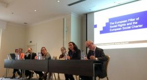 Veerle Stroobants (Belgian Combat Poverty, Insecurity and Social Exclusion Service), Olivier de Schutter, Milla Vidina (Equinet), Anete Ilves (Co-Chair of ENNHRI's ESR WG), Debbie Kohner (ENNHRI's Secretary-General), Humbert de Biolley (Deputy Head of Office at CoE in Brussels)