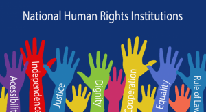 Illustration of hands, each representing values and principles relating to NHRIs