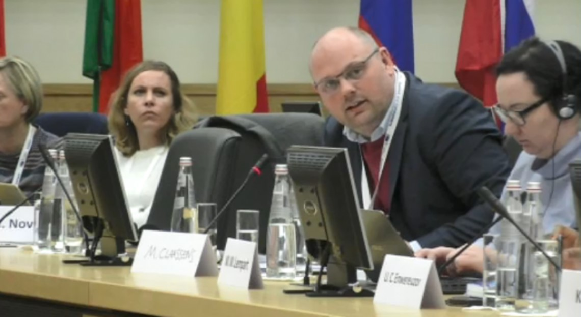 Maurice Claassens, Senior Network Development Officer at ENNHRI, speaking at 2018 EU Annual Colloquium on Fundamental Rights