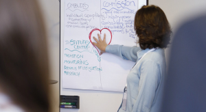 Person standing next to a flipchart with notes on it