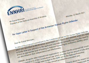 ENNHRI recalls international standards applicable to the adequate funding for NHRIs in letter to support the Armenian NHRI