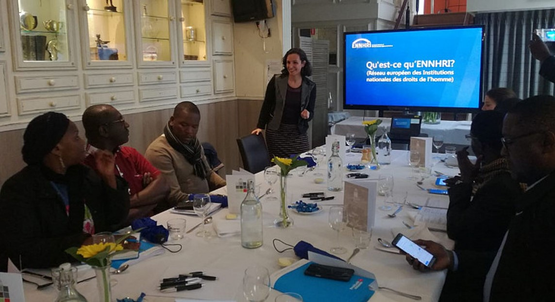 ENNHRI's Secretary-General presenting the areas of ENNHRI's work to the representatives of West African NHRIs