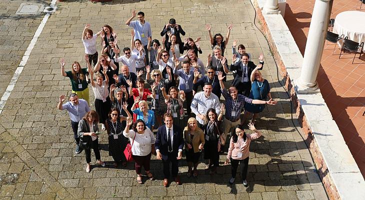 Group of participants waving at NHRI Academy 2019