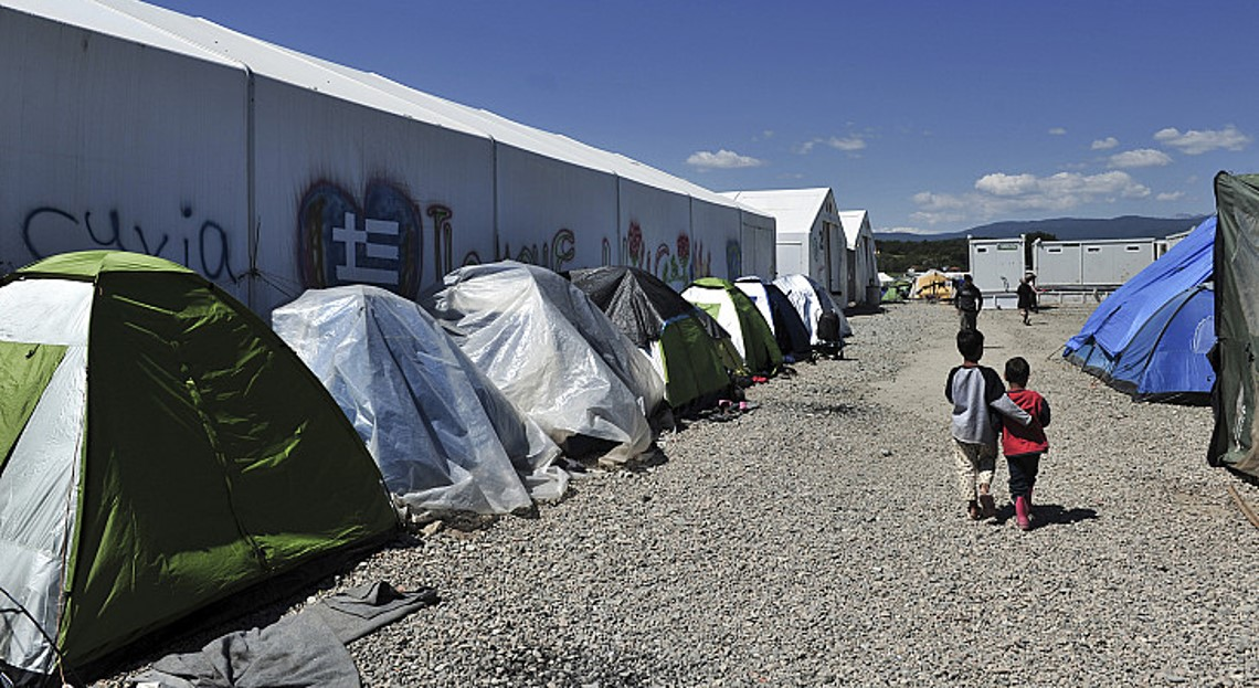 Refugees in a camp