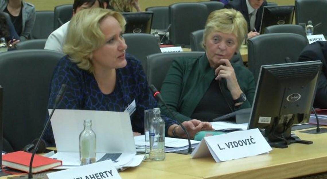 ENNHRI Chair, Lora Vidović, speaking at the Colloquium on Fundamental Rights