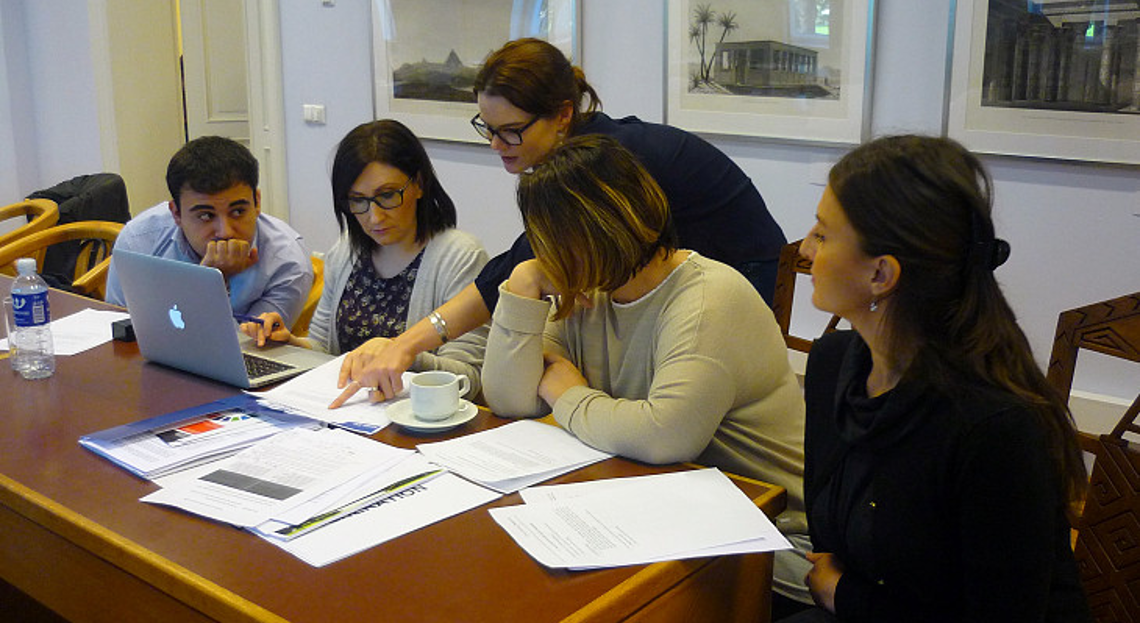 Participants working in a group at the workshop