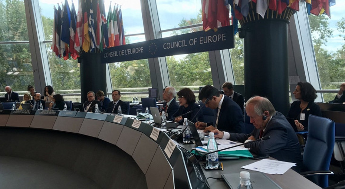 Emily Logan speaking at the Council of Europe Committee of Ministers