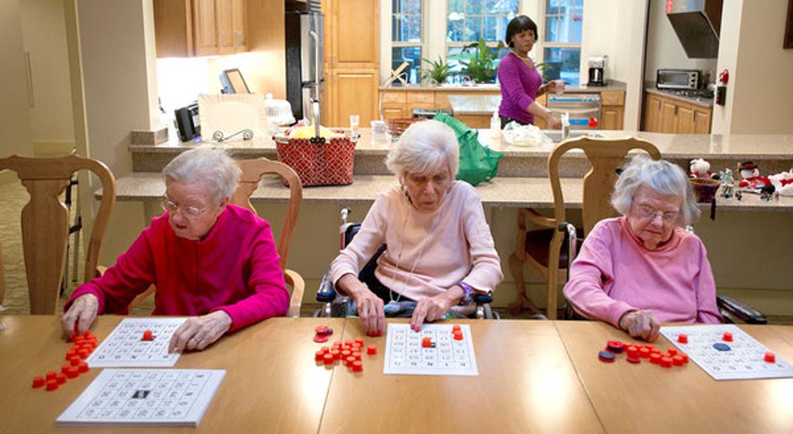 Old ladies playing bingo